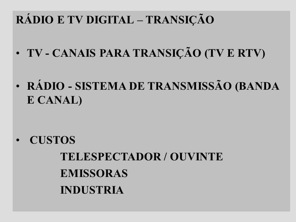 RÁDIO E TV DIGITAL – TRANSIÇÃO