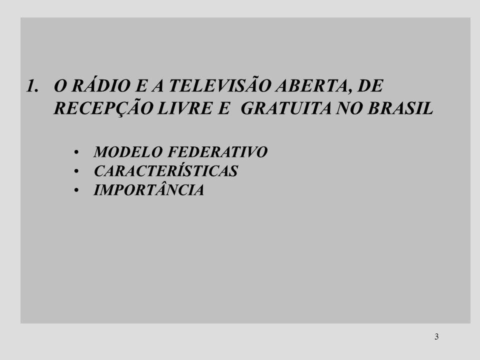 O RÁDIO E A TELEVISÃO ABERTA, DE RECEPÇÃO LIVRE E GRATUITA NO BRASIL
