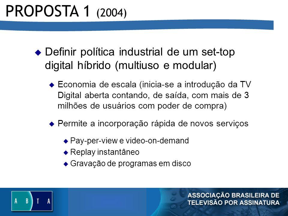 PROPOSTA 1 (2004) Definir política industrial de um set-top digital híbrido (multiuso e modular)