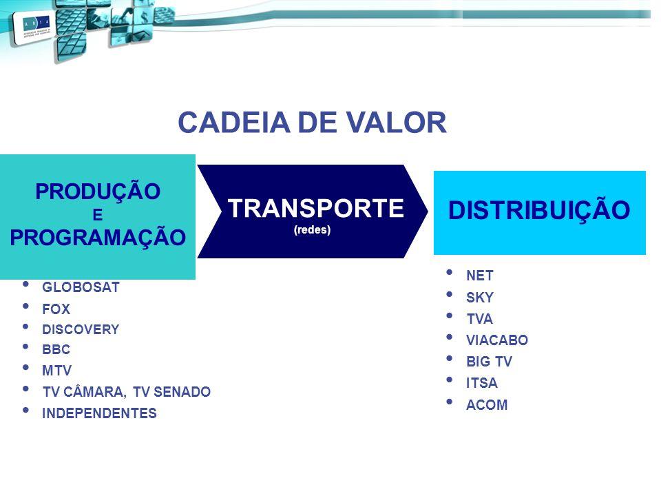 CADEIA DE VALOR TRANSPORTE DISTRIBUIÇÃO PRODUÇÃO PROGRAMAÇÃO E NET SKY