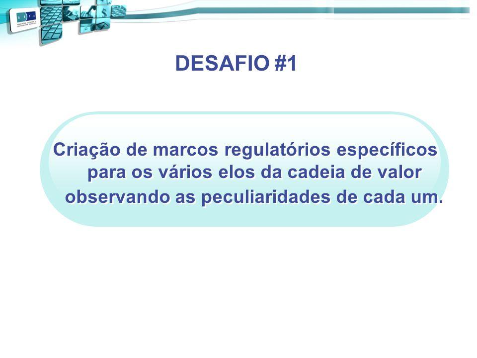 DESAFIO #1 Criação de marcos regulatórios específicos para os vários elos da cadeia de valor observando as peculiaridades de cada um.