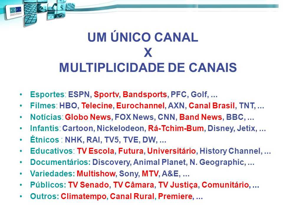 UM ÚNICO CANAL X MULTIPLICIDADE DE CANAIS
