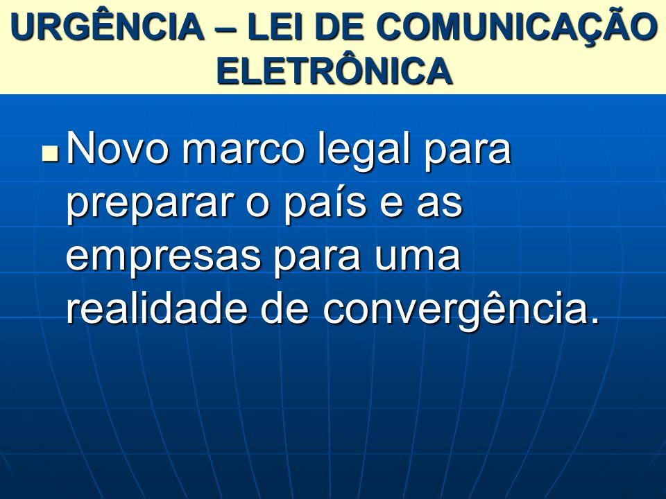 URGÊNCIA – LEI DE COMUNICAÇÃO ELETRÔNICA