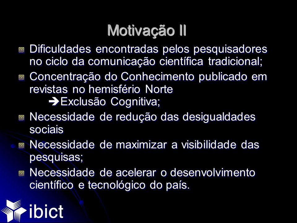 Motivação IIDificuldades encontradas pelos pesquisadores no ciclo da comunicação científica tradicional;