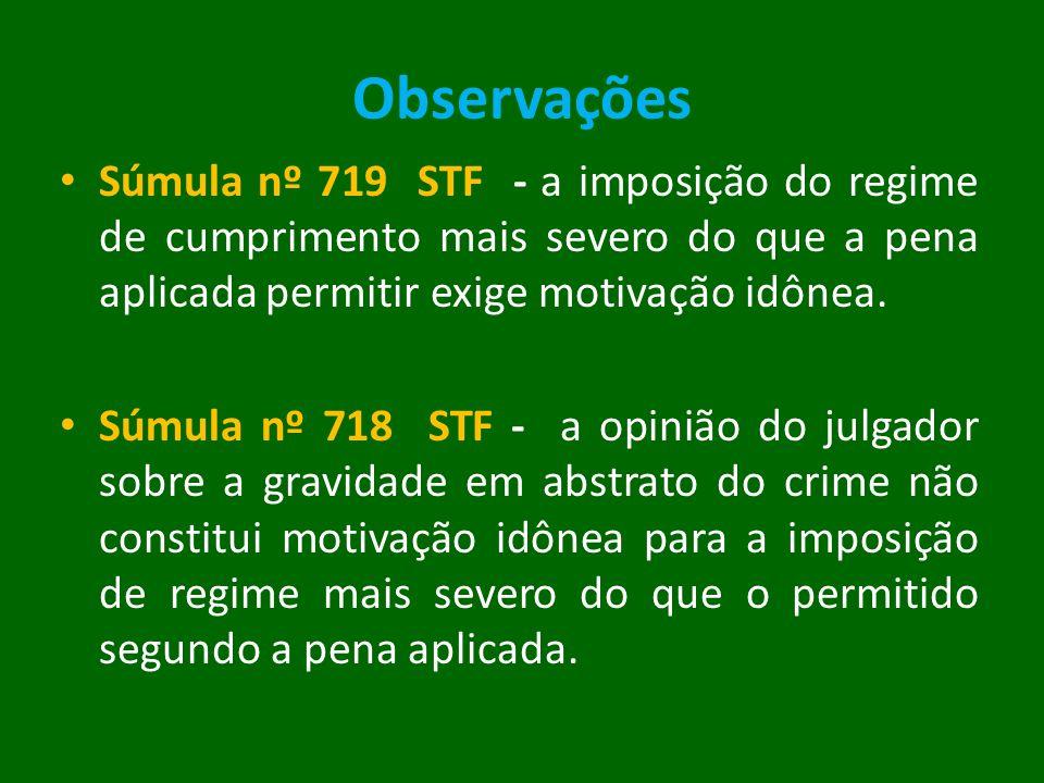 Observações Súmula nº 719 STF - a imposição do regime de cumprimento mais severo do que a pena aplicada permitir exige motivação idônea.