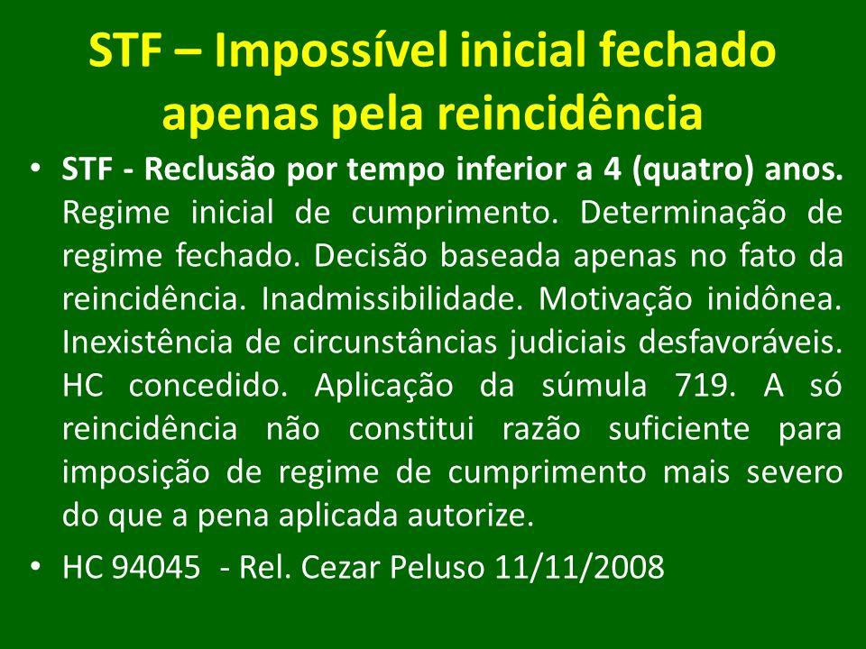 STF – Impossível inicial fechado apenas pela reincidência