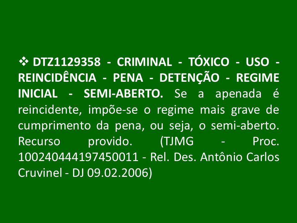 DTZ1129358 - CRIMINAL - TÓXICO - USO - REINCIDÊNCIA - PENA - DETENÇÃO - REGIME INICIAL - SEMI-ABERTO.
