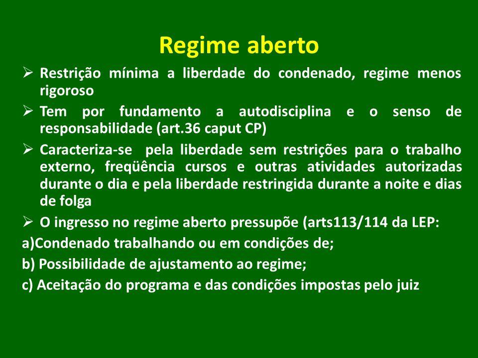 Regime aberto Restrição mínima a liberdade do condenado, regime menos rigoroso.