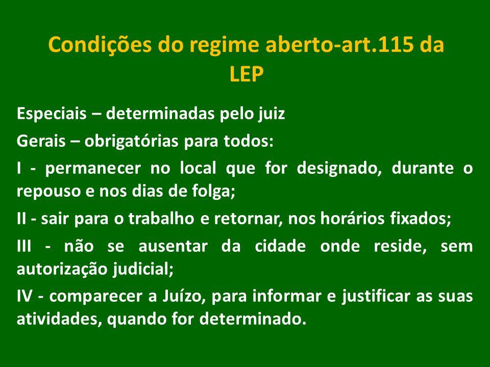 Condições do regime aberto-art.115 da LEP