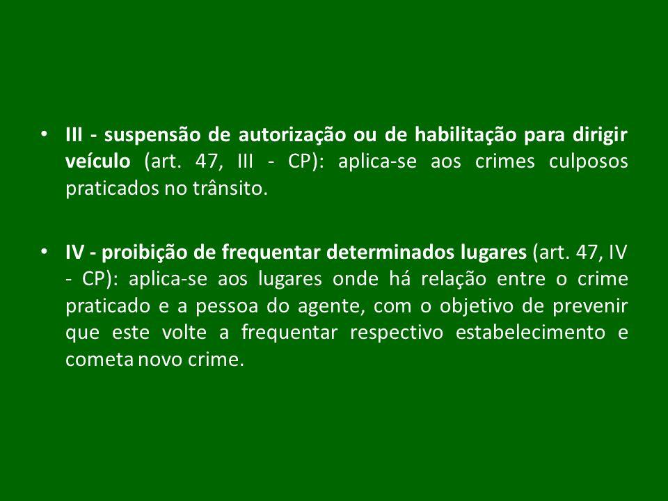 III - suspensão de autorização ou de habilitação para dirigir veículo (art. 47, III - CP): aplica-se aos crimes culposos praticados no trânsito.