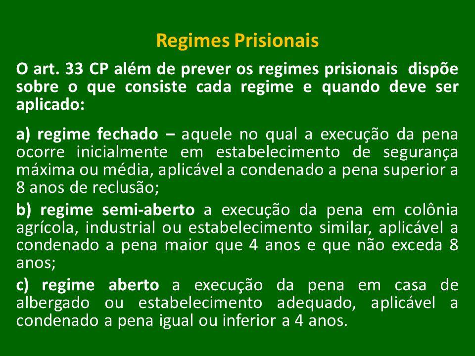 Regimes Prisionais O art. 33 CP além de prever os regimes prisionais dispõe sobre o que consiste cada regime e quando deve ser aplicado: