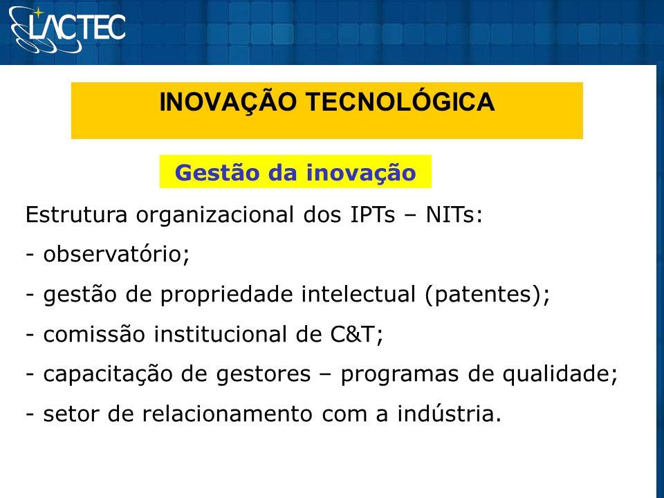 INOVAÇÃO TECNOLÓGICA Gestão da inovação