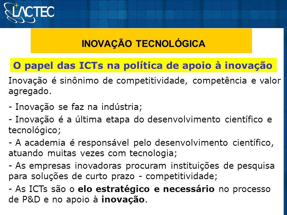 INOVAÇÃO TECNOLÓGICA O papel das ICTs na política de apoio à inovação
