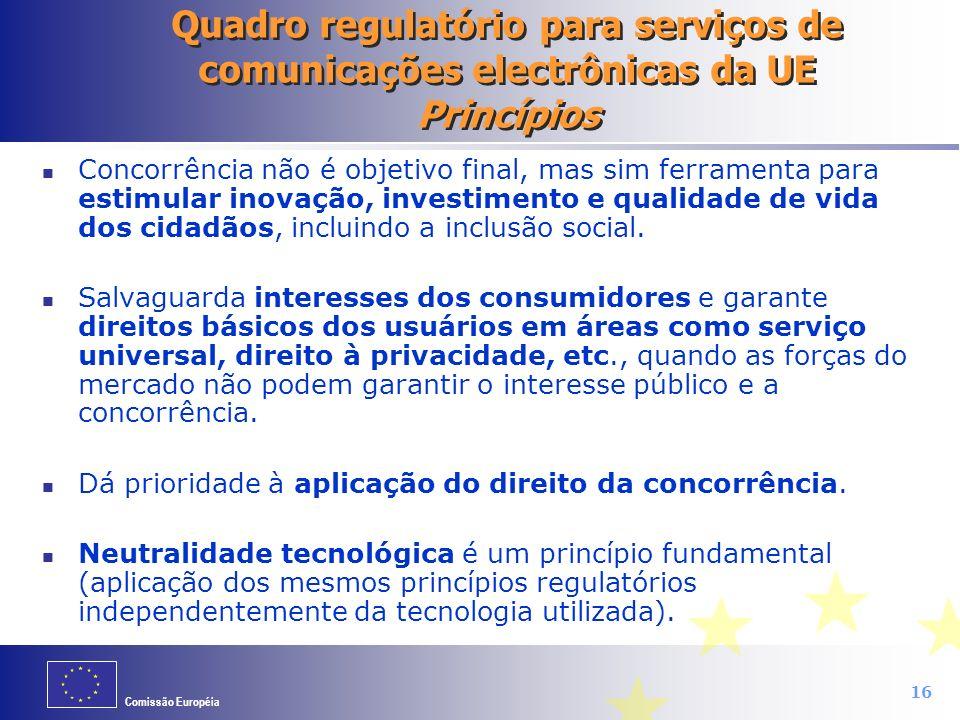 Quadro regulatório para serviços de comunicações electrônicas da UE Princípios