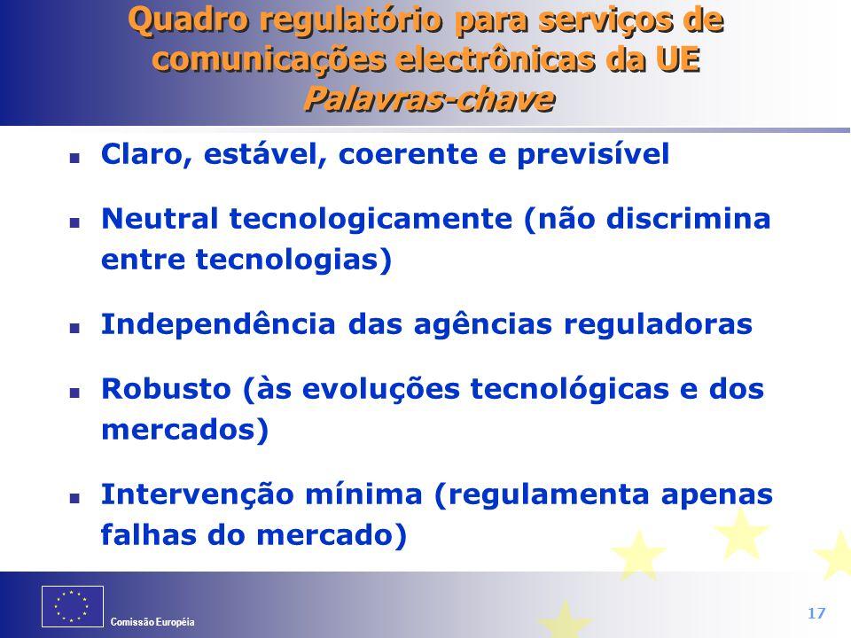 Quadro regulatório para serviços de comunicações electrônicas da UE Palavras-chave
