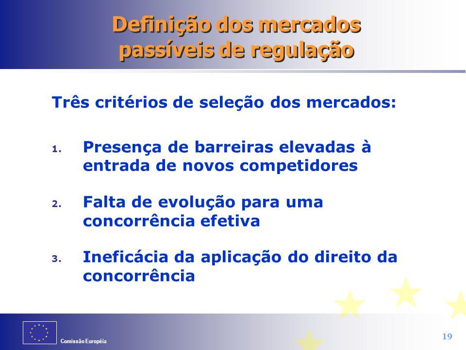 Definição dos mercados passíveis de regulação