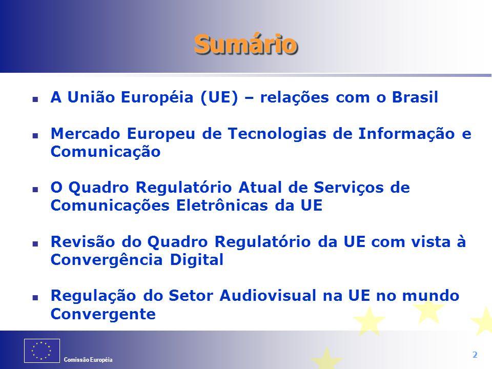 Sumário A União Européia (UE) – relações com o Brasil
