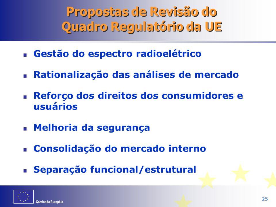 Propostas de Revisão do Quadro Regulatório da UE