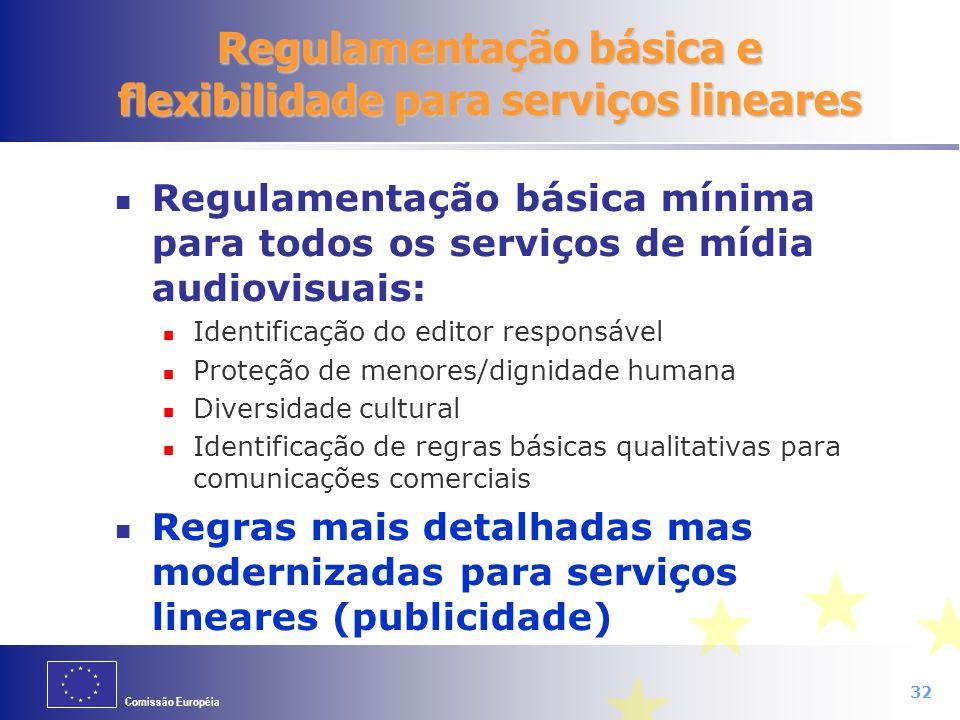 Regulamentação básica e flexibilidade para serviços lineares