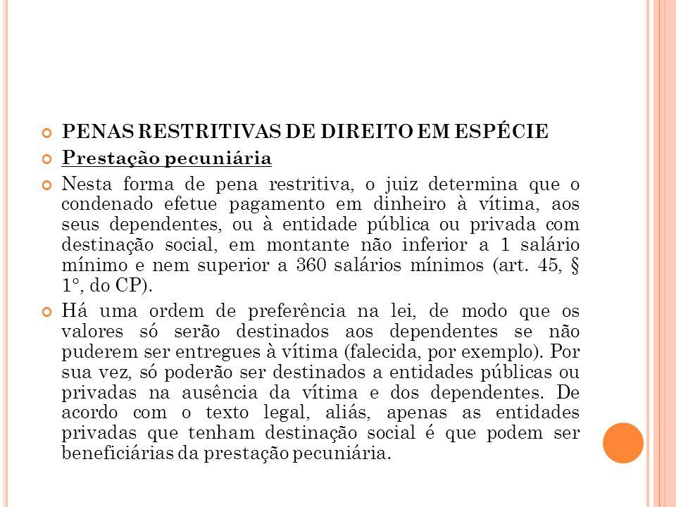 PENAS RESTRITIVAS DE DIREITO EM ESPÉCIE