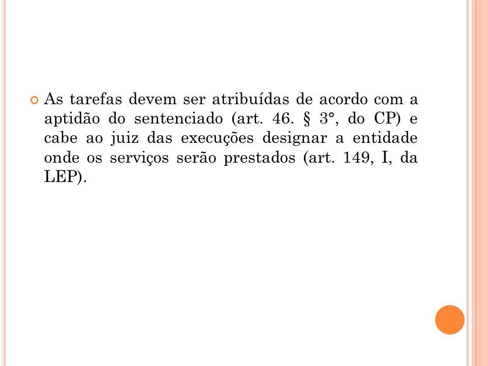 As tarefas devem ser atribuídas de acordo com a aptidão do sentenciado (art.