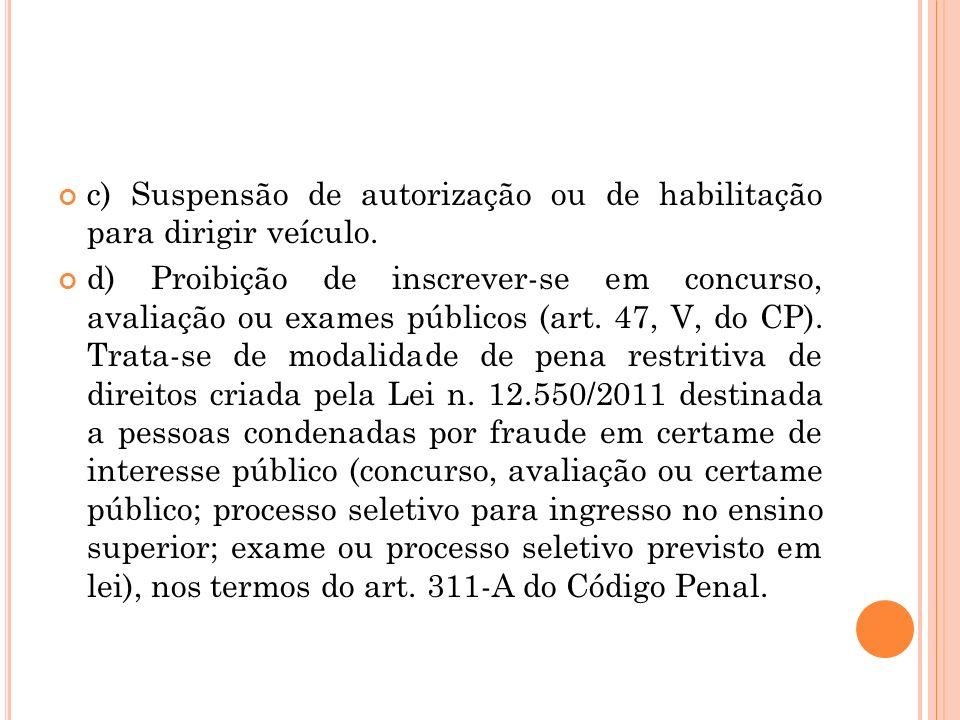 c) Suspensão de autorização ou de habilitação para dirigir veículo.