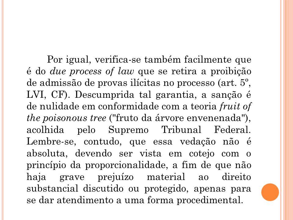 Por igual, verifica-se também facilmente que é do due process of law que se retira a proibição de admissão de provas ilícitas no processo (art.