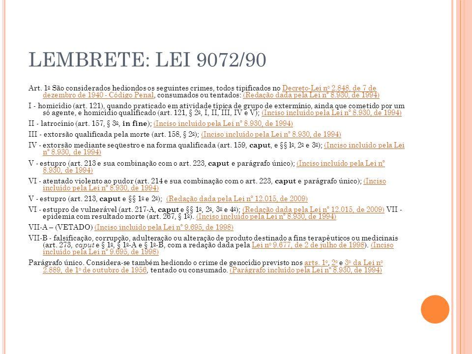 LEMBRETE: LEI 9072/90