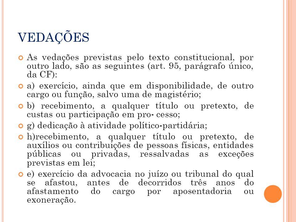 VEDAÇÕES As vedações previstas pelo texto constitucional, por outro lado, são as seguintes (art. 95, parágrafo único, da CF):