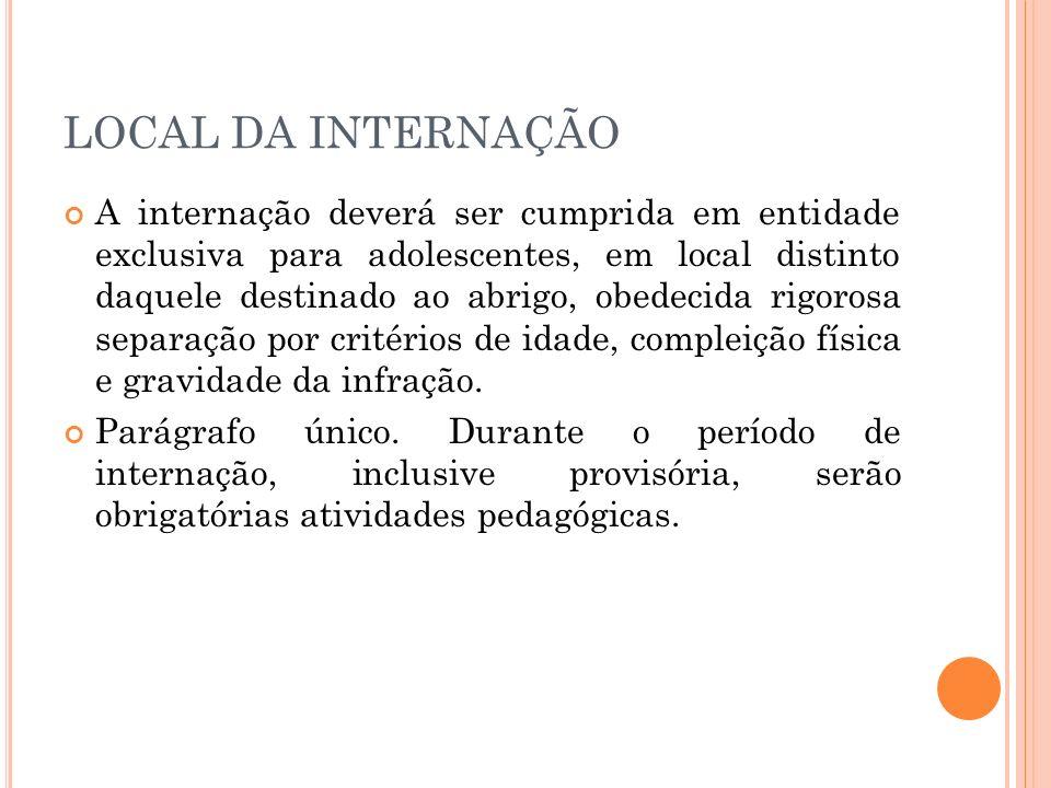 LOCAL DA INTERNAÇÃO
