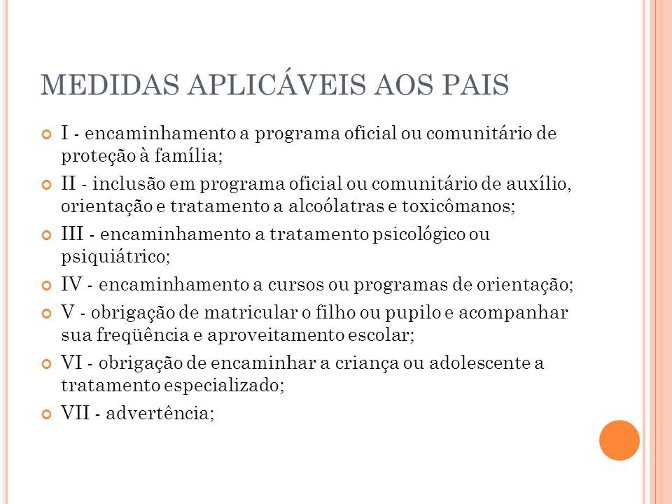 MEDIDAS APLICÁVEIS AOS PAIS