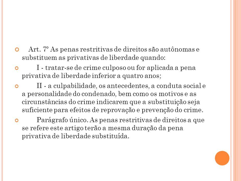 Art. 7º As penas restritivas de direitos são autônomas e substituem as privativas de liberdade quando: