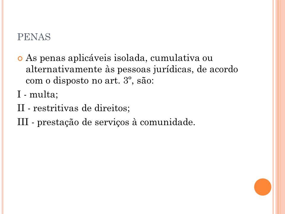 penasAs penas aplicáveis isolada, cumulativa ou alternativamente às pessoas jurídicas, de acordo com o disposto no art. 3º, são: