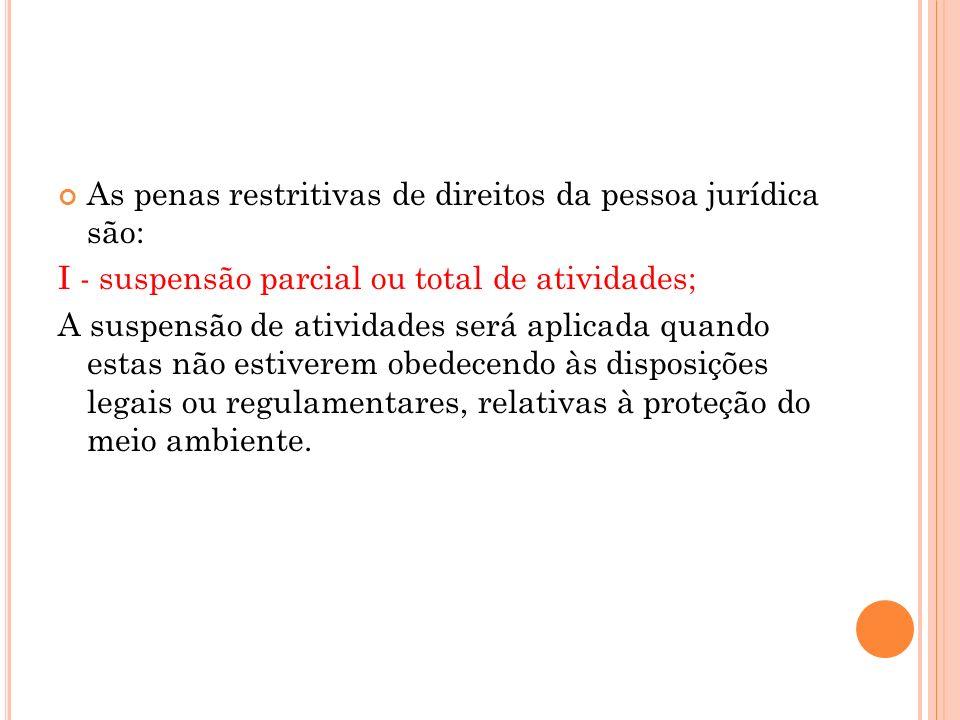 As penas restritivas de direitos da pessoa jurídica são: