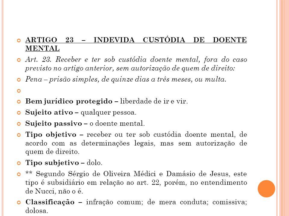 ARTIGO 23 – INDEVIDA CUSTÓDIA DE DOENTE MENTAL