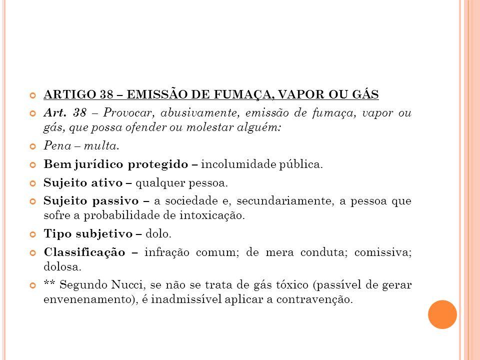 ARTIGO 38 – EMISSÃO DE FUMAÇA, VAPOR OU GÁS