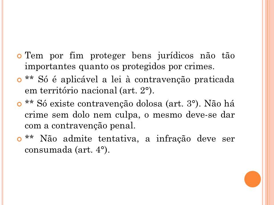 Tem por fim proteger bens jurídicos não tão importantes quanto os protegidos por crimes.