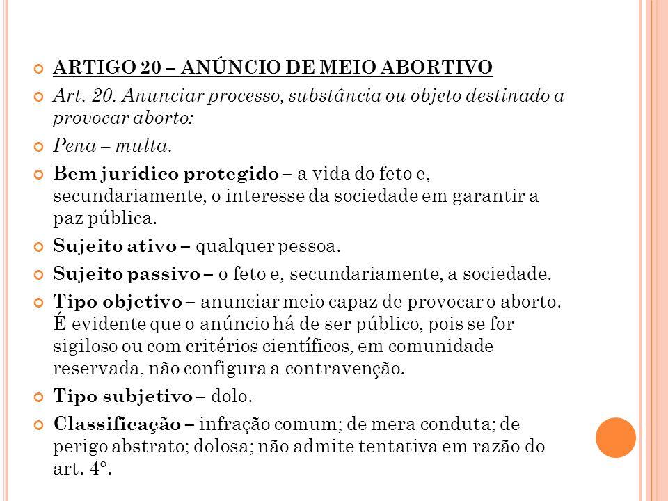 ARTIGO 20 – ANÚNCIO DE MEIO ABORTIVO