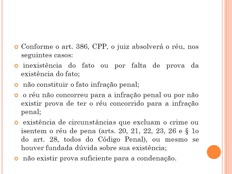 Conforme o art. 386, CPP, o juiz absolverá o réu, nos seguintes casos: