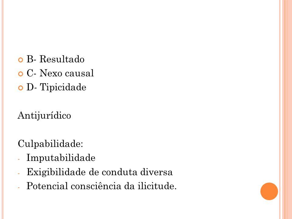 B- ResultadoC- Nexo causal. D- Tipicidade. Antijurídico. Culpabilidade: Imputabilidade. Exigibilidade de conduta diversa.