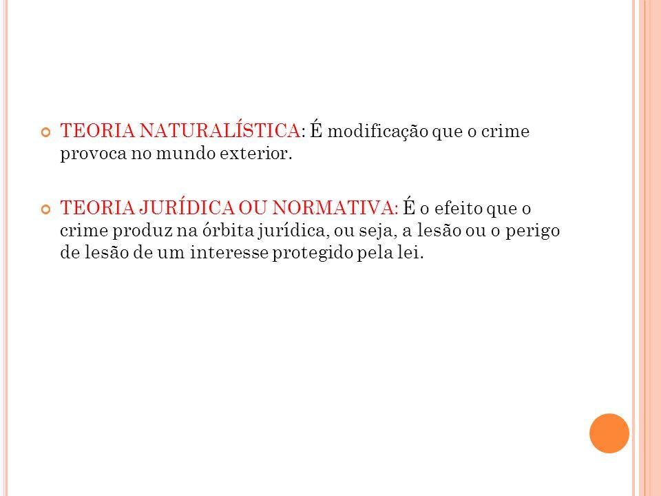 TEORIA NATURALÍSTICA: É modificação que o crime provoca no mundo exterior.