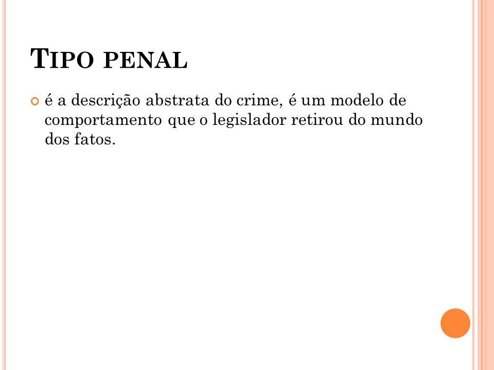 Tipo penal é a descrição abstrata do crime, é um modelo de comportamento que o legislador retirou do mundo dos fatos.