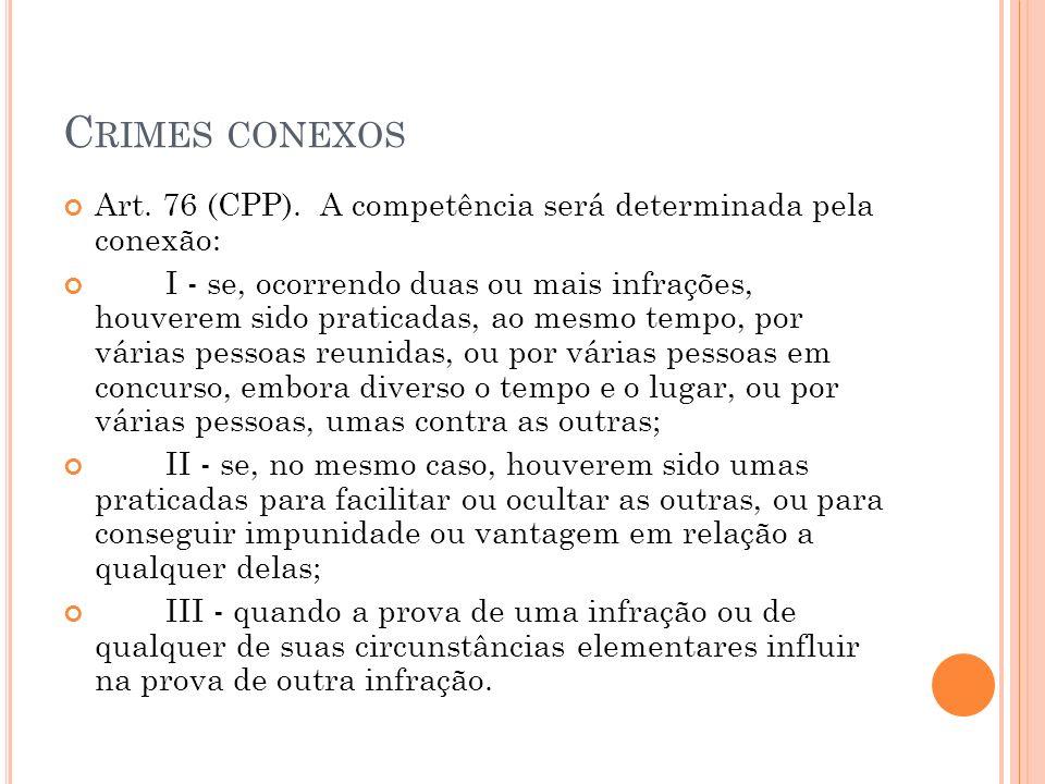 Crimes conexos Art. 76 (CPP). A competência será determinada pela conexão: