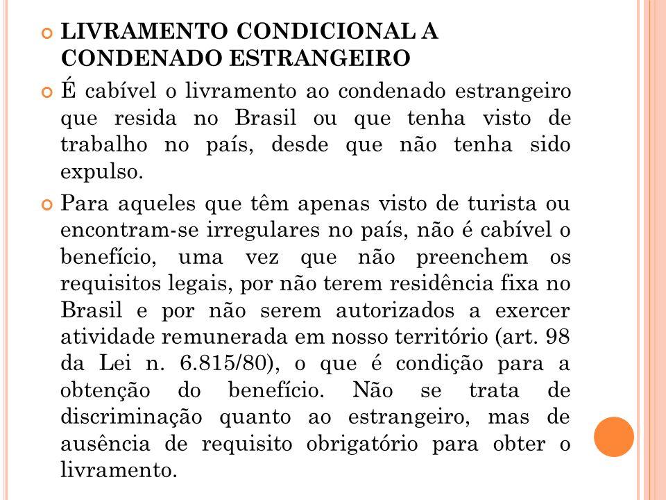 LIVRAMENTO CONDICIONAL A CONDENADO ESTRANGEIRO