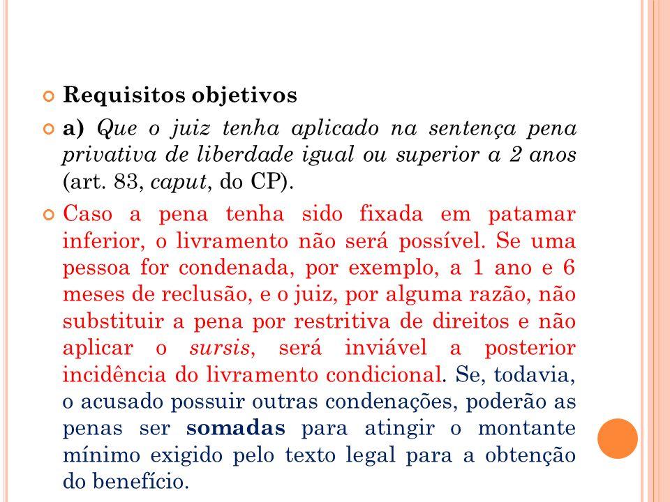 Requisitos objetivosa) Que o juiz tenha aplicado na sentença pena privativa de liberdade igual ou superior a 2 anos (art. 83, caput, do CP).