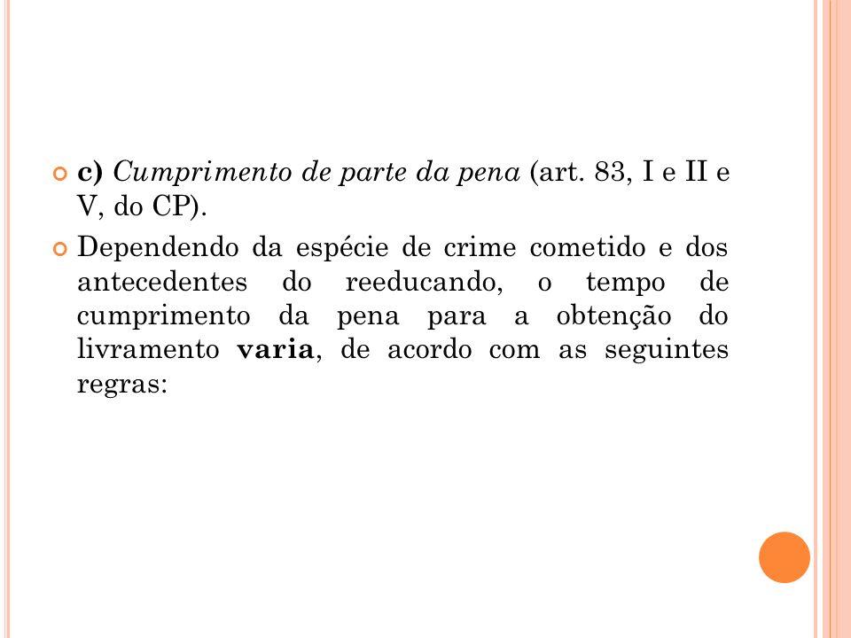 c) Cumprimento de parte da pena (art. 83, I e II e V, do CP).