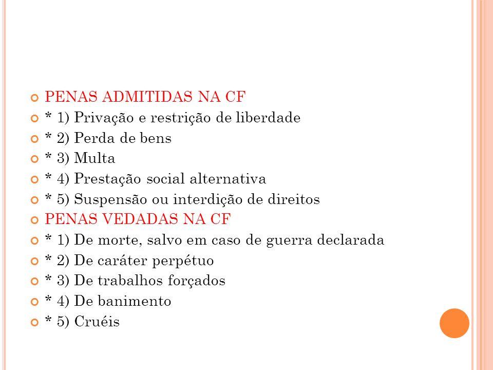 PENAS ADMITIDAS NA CF * 1) Privação e restrição de liberdade. * 2) Perda de bens. * 3) Multa. * 4) Prestação social alternativa.