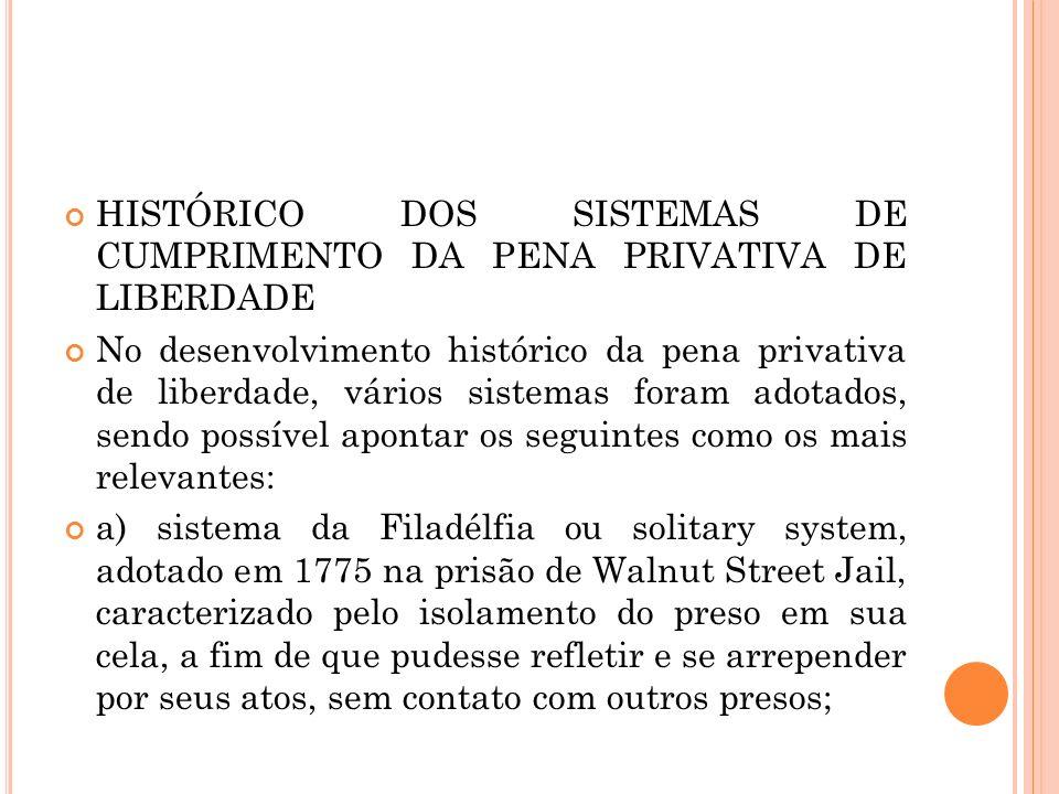 HISTÓRICO DOS SISTEMAS DE CUMPRIMENTO DA PENA PRIVATIVA DE LIBERDADE