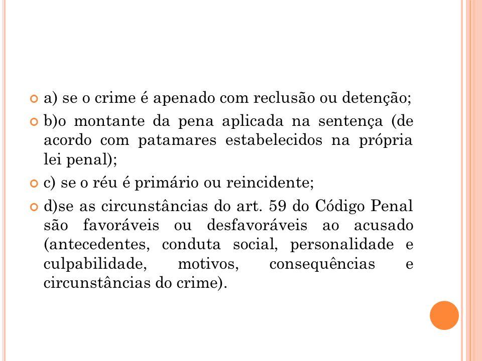 a) se o crime é apenado com reclusão ou detenção;