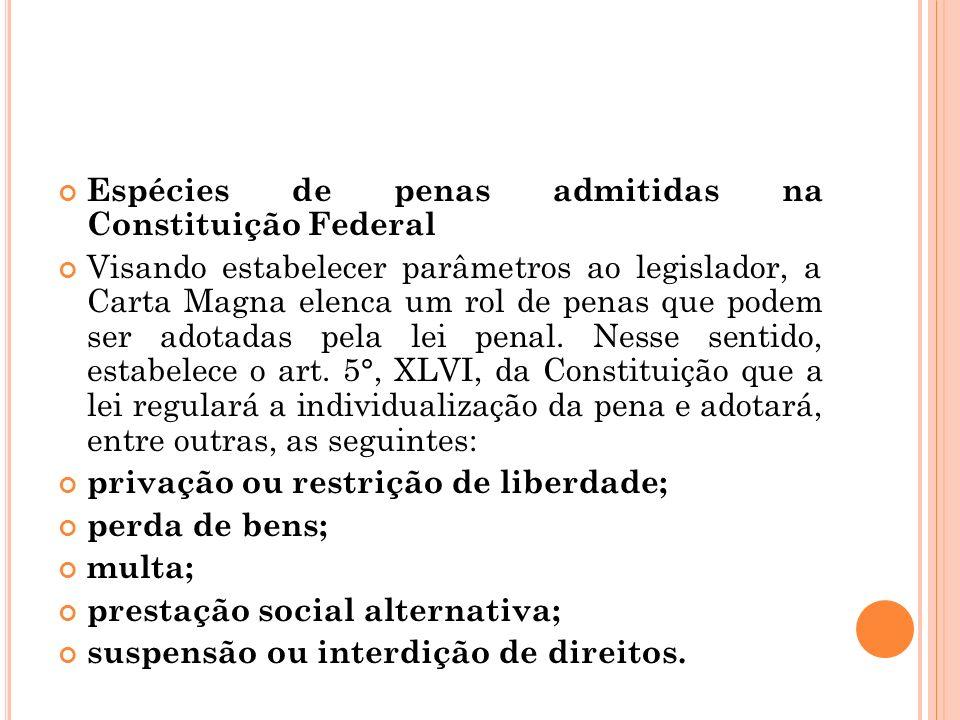 Espécies de penas admitidas na Constituição Federal
